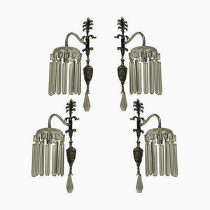 Antique Edwardian Silver-Plated Sconces, Set of 4