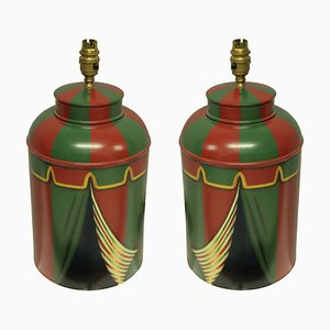 Hand-Painted Tole Table Lamps, 1990s, Set of 2