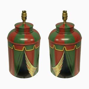Lámparas de mesa Tole pintadas a mano, años 90. Juego de 2