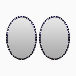 Espejos con marco de remaches, años 70. Juego de 2