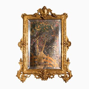 Small Antique Victorian Decorative Wall Mirror in Gilt Metal, Italy, 1900s