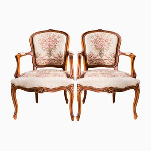 Mid-Century French Cabriolet Armchairs, Set of 2