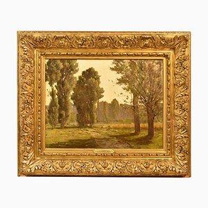Pintura de paisaje antigua, siglo XIX, óleo sobre lienzo