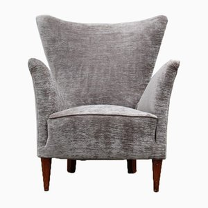 Italian Geometric Armchair in Gray Velvet with Wooden Feet, 1950s