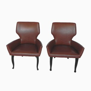 Fumoir Armchairs in Leatherette, 1950s, Set of 2