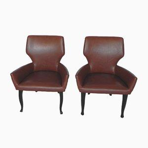 Fumoir Sessel aus Kunstleder, 1950er, 2er Set