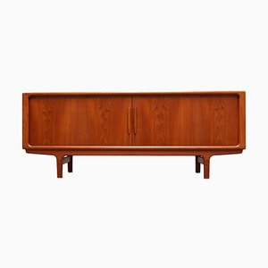 Danish Sculpted Teak Sideboard or Credenza with Tambour Doors by Dyrlund