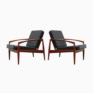 Danish Teak Paper Knife Lounge Chairs in Black by Kai Kristiansen for Magnus Olesen, Set of 2