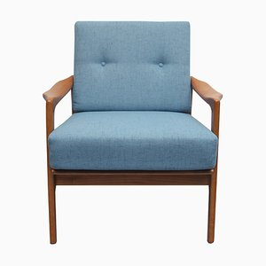 Armchair in Cherry with New Light Blue Upholstery, 1960s