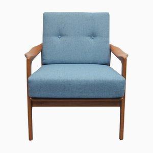 Butaca de cerezo con tapicería azul claro, años 60