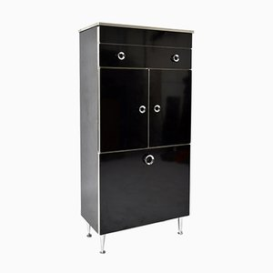 French Black Gloss Mica Laminate, Aluminium, Chrome Cocktail Bar Cabinet from Sanijura