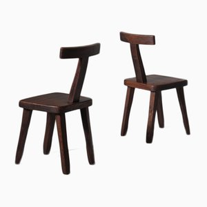 Sculptural Side Chairs in Stained Elm by Olavi Hänninen, Set of 2