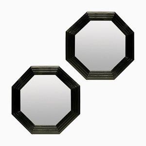 Espejos grandes octogonales lacados en negro. Juego de 2