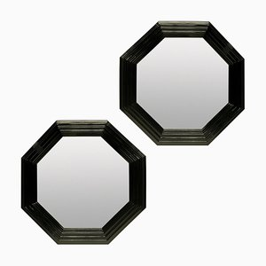 Large Octagonal Black Lacquered Mirrors, Set of 2