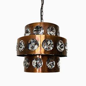 Brutalistische Kupfer & Kristall Lampe, 1960er