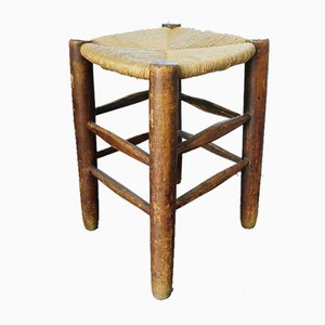Mid-Century French Straw Stool in the Style of Charlotte Perriand