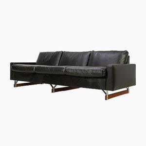 Mid-Century Leather Sofa on Teak Skids, 1960s
