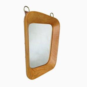 Scandinavian Organic Shaped Teak, Leather & Brass Wall Mirror, 1960s
