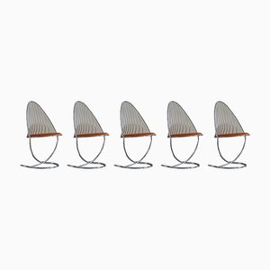Mid-Century Swedish Dining Chairs in Chrome from Dahlens Dalum, 1960s, Set of 5