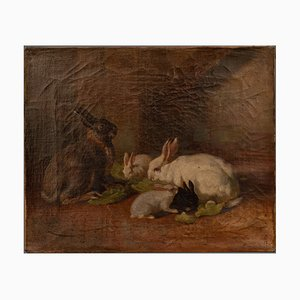 Antikes Gemälde mit Kaninchen in vergoldetem Holzrahmen, 1865