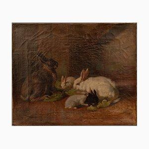Pintura antigua de conejos con marco de madera dorada, 1865