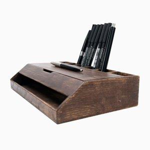 Rustikaler Estuche Schreibtisch Organizer aus Nussholz von Oitenta