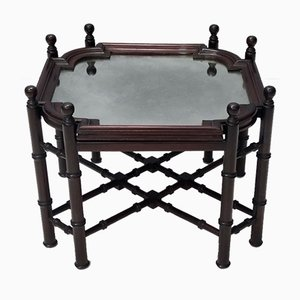 Mid-Century Renaissance Style Beech Coffee Table with Antiqued Mirror Top