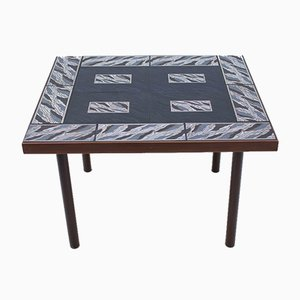Decorative Side Table in Wood with Black, Gold & White Ceramic Tiles, 1960s