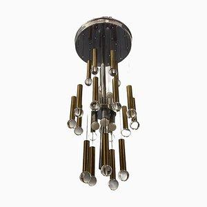 Lámpara de araña Mid-Century de cromo y latón de Sciolari