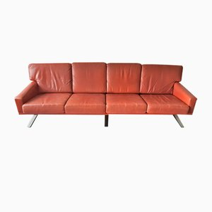 Scandinavian 4-Seat Sofa in Red-Brown Leather, 1960s