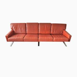 Skandinavisches 4-Sitzer Sofa aus rotbraunem Leder, 1960er