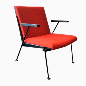 Red Oase Lounge Chair with Armrests by Wim Rietveld for Ahrend De Cirkel