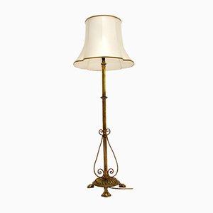 Antike Rise & Fall Stehlampe aus massivem Messing