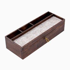 Organizador de escritorio rústico de nogal con cajón de almacenamiento de Oitenta