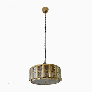 Mid-Century Scandinavian Hollywood Regency Brass and Glass Ceiling Light by Carl Fagerlund for Orrefors, 1960s