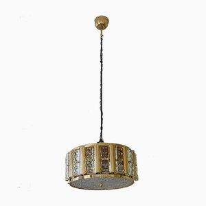 Skandinavische Mid-Century Hollywood Regency Deckenlampe aus Messing & Glas von Carl Fagerlund für Orrefors, 1960er