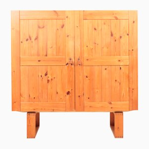 Mid-Century Danish Cabinet in Pine with Leather Handles, 1970s