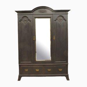 Antique Black Painted Mirrored Triple 5-Part Wardrobe