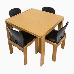 Sedie 121 e tavolo da pranzo 778 allungabile di Tobia & Afra Scarpa per Cassina, anni '60, set di 5