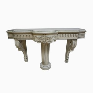 Antique French Carved Wooden Console Table with Center Column