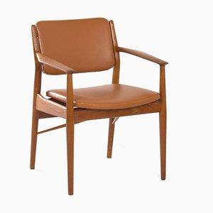 Butaca danesa retapizada de cuero marrón de Arne Vodder para Sibast, años 60