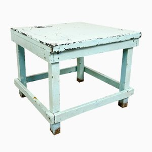 Vintage Industrial Table with Blue Zinc Top