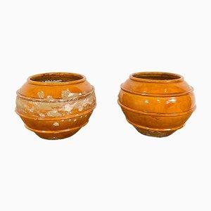Französische Biot Vasen aus glasierter Terrakotta, 19. Jh., 2er Set