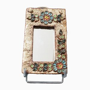 Small Ceramic Wall Mirror with Flower Motif from La Roue, 1960s