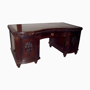 Desk in Solid Wood with Marble Surface