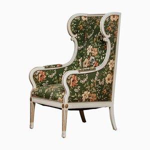 19th Century Gustavian Style White Lounge Chair by Petersen, Denmark