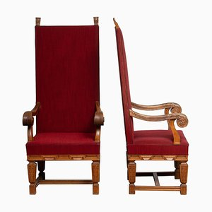 Tall 20th Century Throne Chairs in Carved Oak, Sweden, Set of 2
