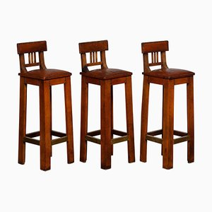 Brutalist Leather Bar Stools with Brass Details, 1940s, Set of 3