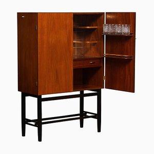 Teak and Brass Dry Bar or Drinks Cabinet from Förenade Linköping, Sweden, 1960s