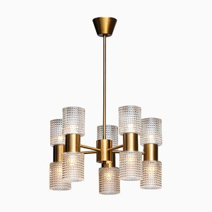 Brass & Glass Up and Down Chandelier from Konsthantverk Tyringe, Sweden, 1960s